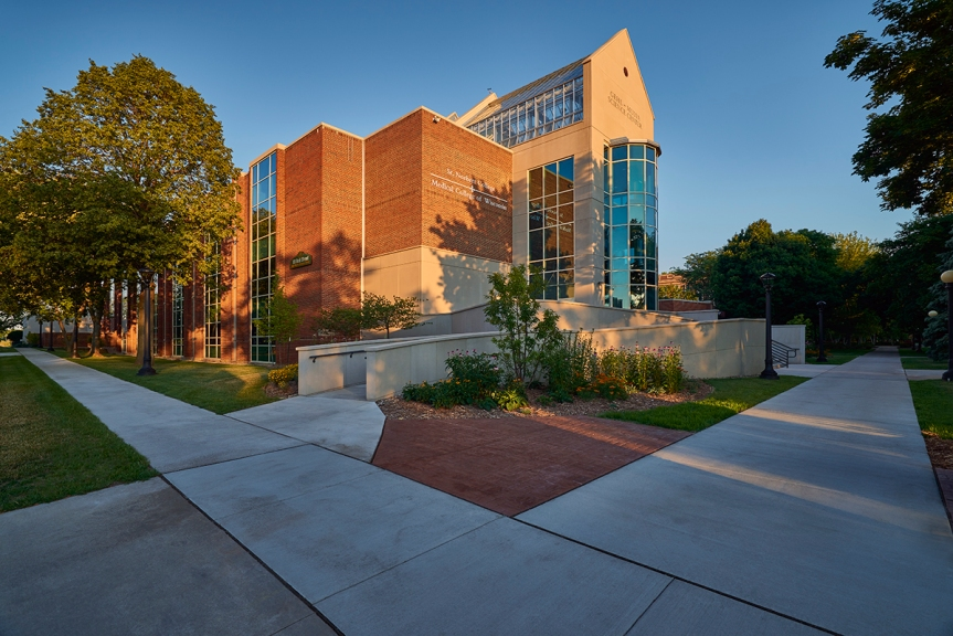 Photo by Gary D. Parker. LaForce's specification writing department worked with Performa, Inc. on St. Norbert College's brand-new Gehl-Mulva Science Center, located in beautiful De Pere, WI.
