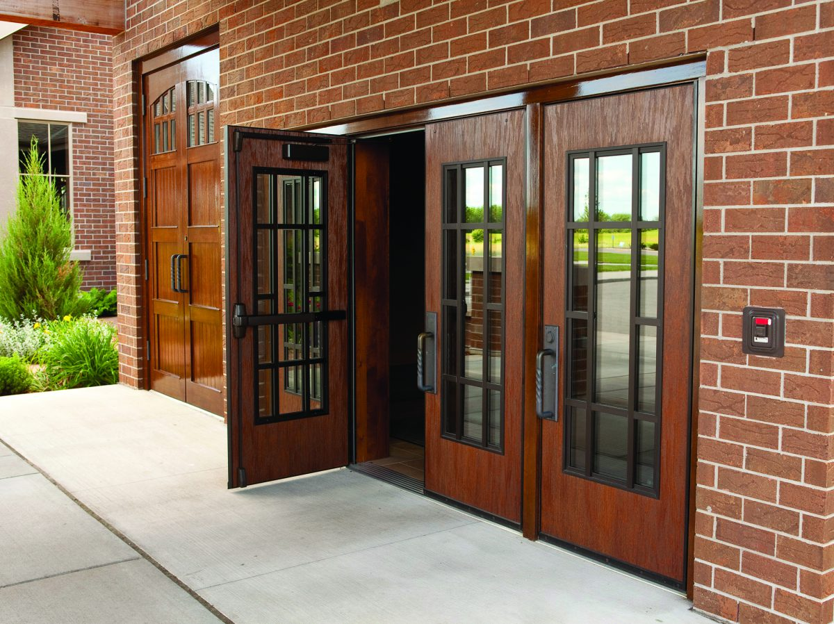 Wood doors in exterior applications laforce frame of mind for Hardwood exterior doors